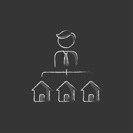 renter: Real estate agent with three houses. Hand drawn in chalk vector isolated icon for web, mobile and infographics.