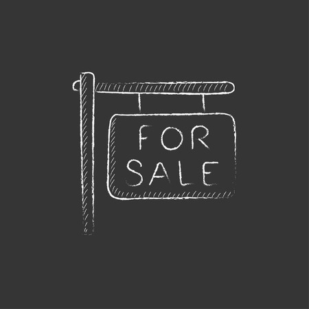 For sale placard. Hand drawn in chalk vector isolated icon for web, mobile and infographics.