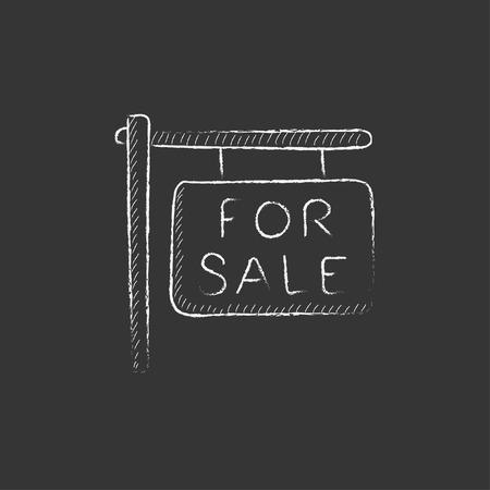Te koop plakkaat. Hand getekend in krijt vector geïsoleerde pictogram voor web, mobiel en infographics. Stock Illustratie