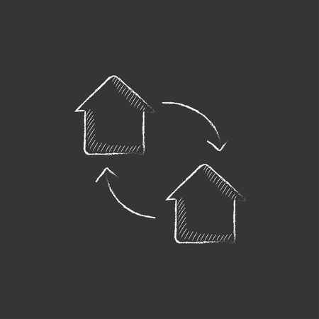 house exchange: House exchange. Hand drawn in chalk vector isolated icon for web, mobile and infographics.