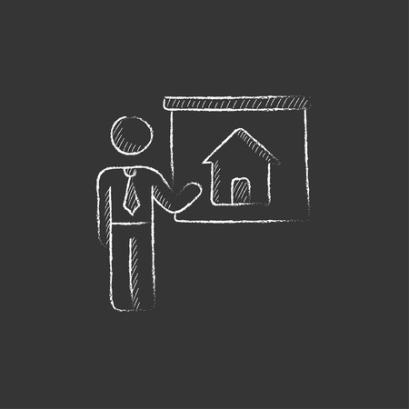 demonstrate: Real estate agent showing the house. Hand drawn in chalk vector isolated icon for web, mobile and infographics.