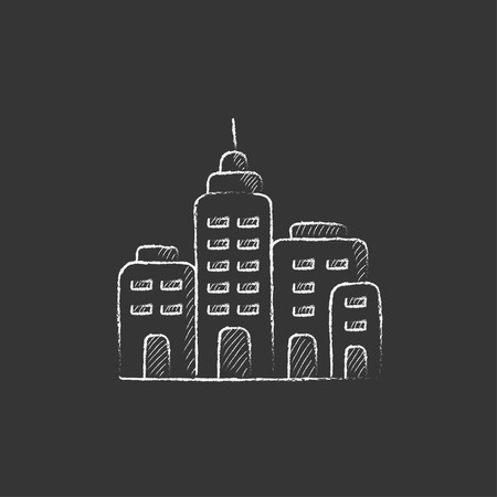 Residential buildings. Hand drawn in chalk vector isolated icon for web, mobile and infographics.