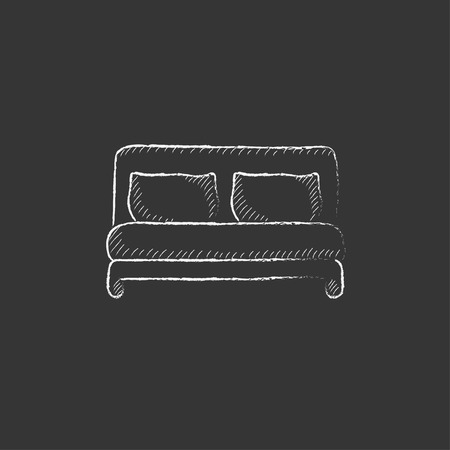 headboard: Double bed. Hand drawn in chalk vector isolated icon for web, mobile and infographics.