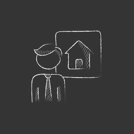 possession: Real estate agent. Hand drawn in chalk vector isolated icon for web, mobile and infographics. Illustration
