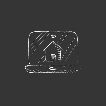 device: Smart house technology. Hand drawn in chalk vector isolated icon for web, mobile and infographics.