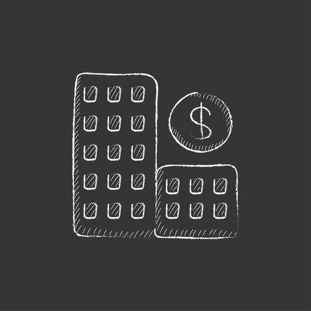condominium: Condominium with dollar symbol. Hand drawn in chalk vector isolated icon for web, mobile and infographics. Illustration