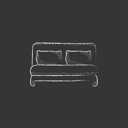 one bedroom: Double bed. Hand drawn in chalk vector isolated icon for web, mobile and infographics.