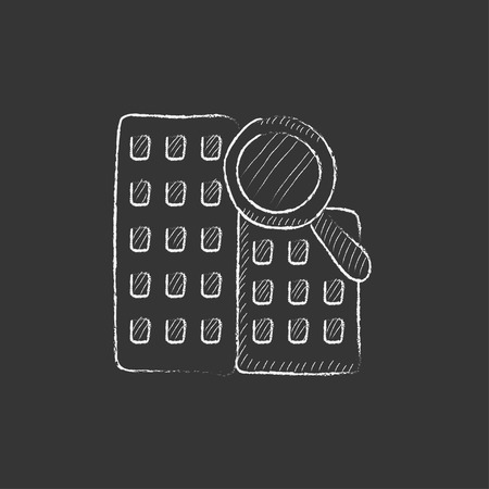 condominium: Condominium and magnifying glass. Hand drawn in chalk vector isolated icon for web, mobile and infographics.