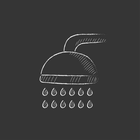 シャワー。インフォ グラフィック、モバイル web のチョーク ベクトル分離アイコンで描画手。