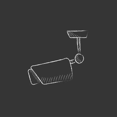 Outdoor surveillance camera. Hand drawn in chalk vector isolated icon for web, mobile and infographics. Illustration