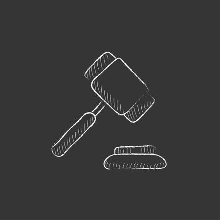 auction gavel: Auction gavel. Hand drawn in chalk vector isolated icon for web, mobile and infographics.