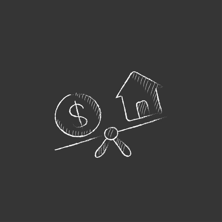 House and dollar symbol on scales. Hand drawn in chalk vector isolated icon for web, mobile and infographics.