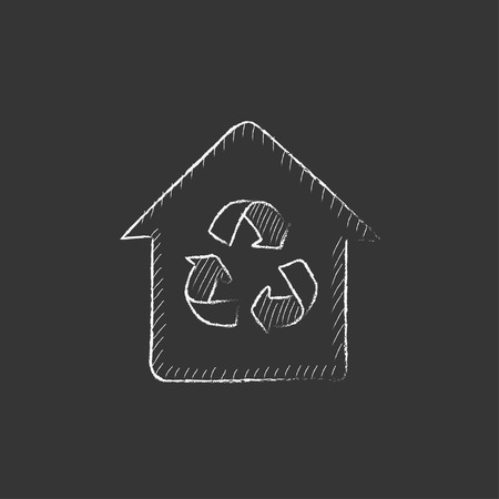 recycling: House with recycling symbol. Hand drawn in chalk vector isolated icon for web, mobile and infographics.