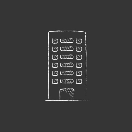 multi storey: Residential building. Hand drawn in chalk vector isolated icon for web, mobile and infographics. Illustration