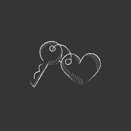 trinket: Trinket for the keys as a heart. Hand drawn in chalk vector isolated icon for web, mobile and infographics. Illustration
