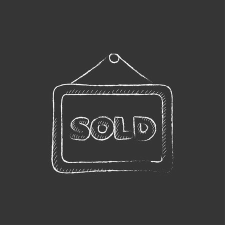 Sold placard. Hand drawn in chalk vector isolated icon for web, mobile and infographics.