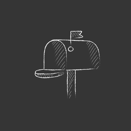 Mail box. Hand drawn in chalk vector isolated icon for web, mobile and infographics.