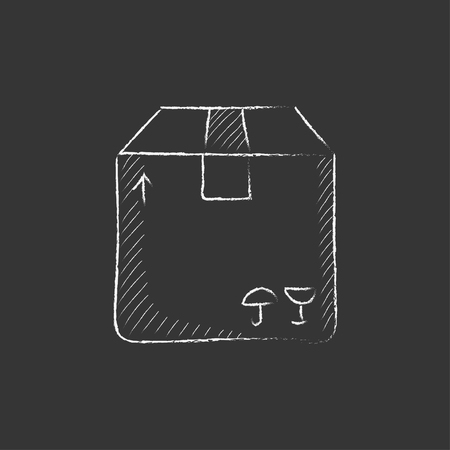 Carton package box. Hand drawn in chalk vector isolated icon for web, mobile and infographics.