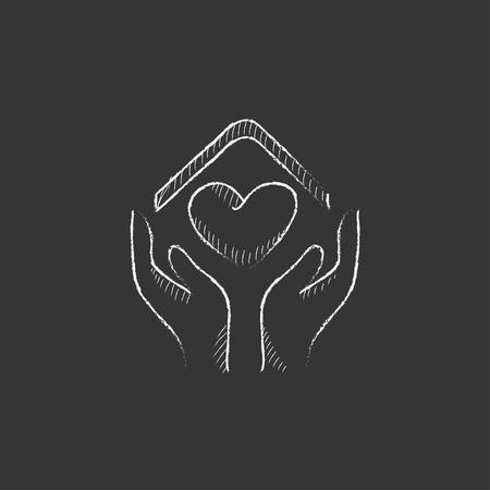 hands holding house: Hands holding house symbol with heart shape. Hand drawn in chalk vector isolated icon for web, mobile and infographics.