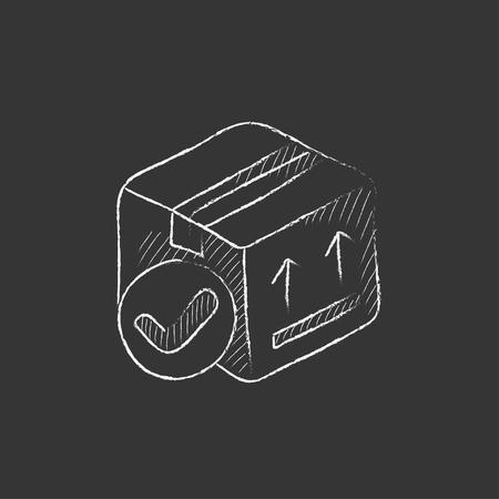 Caja de envase de cartón con dos flechas hacia arriba. Dibujado a mano en el icono de tiza vector aislado para web, móvil y la infografía. Foto de archivo - 55074062