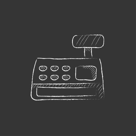 Cash register machine. Hand drawn in chalk vector isolated icon for web, mobile and infographics.