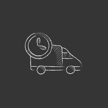 hand truck: Delivery truck. Hand drawn in chalk vector isolated icon for web, mobile and infographics.