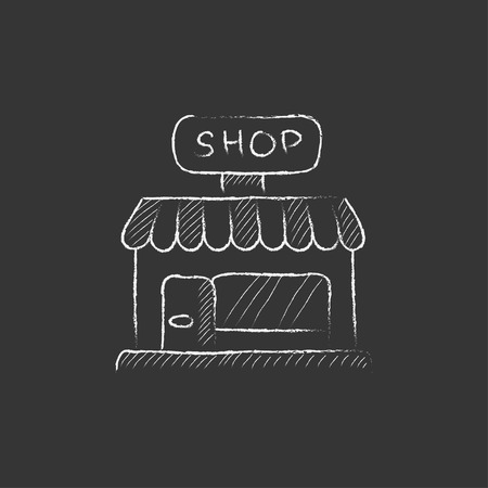 Shop. Hand drawn in chalk vector isolated icon for web, mobile and infographics.