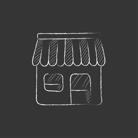 awnings: Shop. Hand drawn in chalk vector isolated icon for web, mobile and infographics.