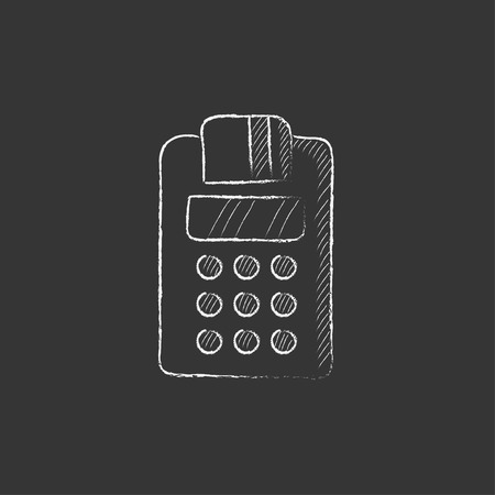 Cash register. Hand drawn in chalk vector isolated icon for web, mobile and infographics. Vettoriali