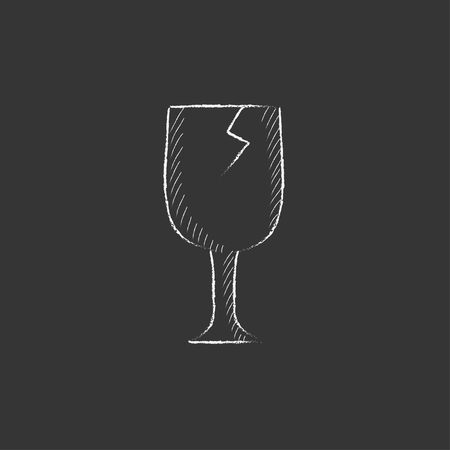 Cracked glass. Hand drawn in chalk vector isolated icon for web, mobile and infographics. Stock Illustratie