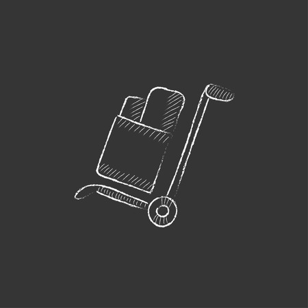 handling: Shopping handling trolley with boxes. Hand drawn in chalk vector isolated icon for web, mobile and infographics. Illustration