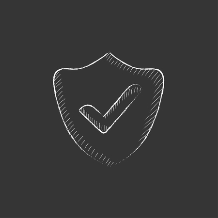 confirmed: Quality is confirmed sign. Hand drawn in chalk vector isolated icon for web, mobile and infographics.