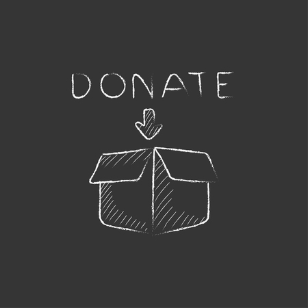 put: Open donation box. Hand drawn in chalk vector isolated icon for web, mobile and infographics.