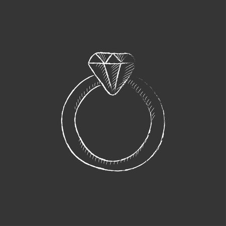 adamant: Diamond ring. Hand drawn in chalk vector isolated icon for web, mobile and infographics.