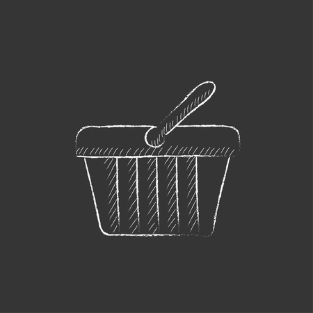 basket icon: Shopping basket. Hand drawn in chalk vector isolated icon for web, mobile and infographics. Illustration