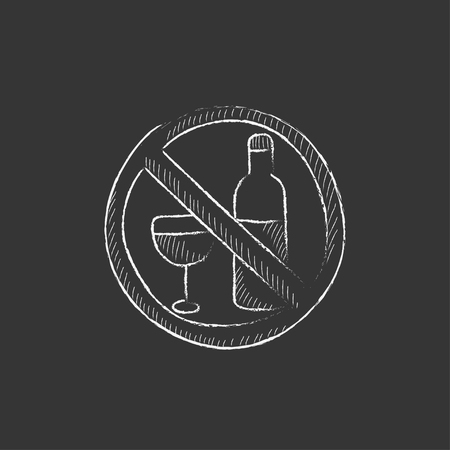 strikethrough: No alcohol sign. Hand drawn in chalk vector isolated icon for web, mobile and infographics.