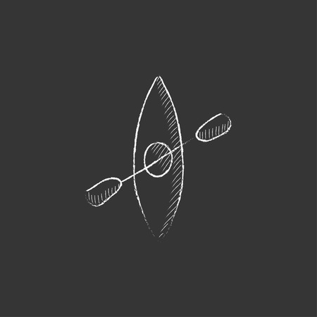 Kayak with paddle. Hand drawn in chalk vector isolated icon for web, mobile and infographics.