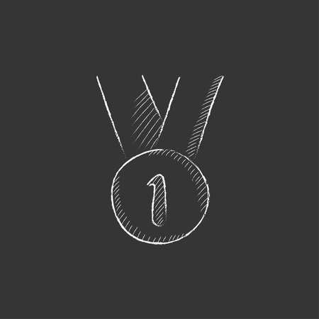 The medal for the first place. Hand drawn in chalk vector isolated icon for web, mobile and infographics.