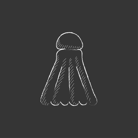 battledore: Shuttlecock. Hand drawn in chalk vector isolated icon for web, mobile and infographics.