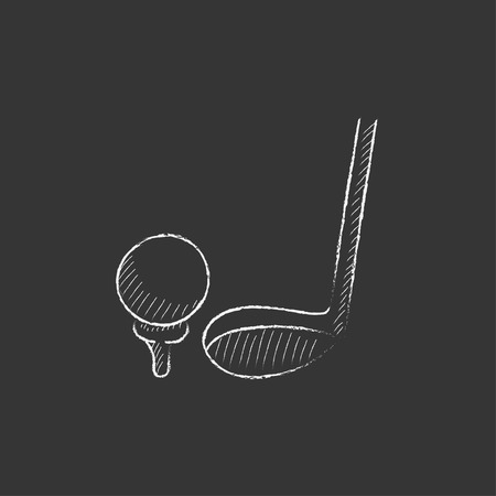 putter: Golf ball and putter. Hand drawn in chalk vector isolated icon for web, mobile and infographics.