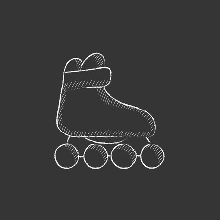 roller skate: Roller skate. Hand drawn in chalk vector isolated icon for web, mobile and infographics.