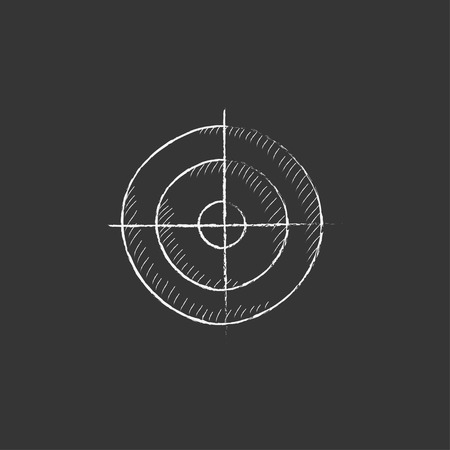 shooting target: Shooting target. Hand drawn in chalk vector isolated icon for web, mobile and infographics.