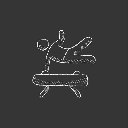 pommel: Gymnast exercising on the pommel horse. Hand drawn in chalk vector isolated icon for web, mobile and infographics. Illustration