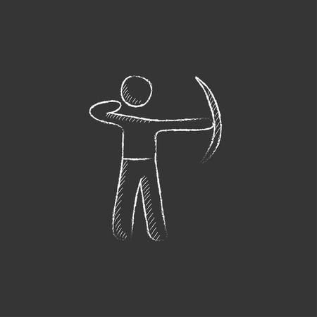 Archer training with the bow. Hand drawn in chalk vector isolated icon for web, mobile and infographics. 向量圖像
