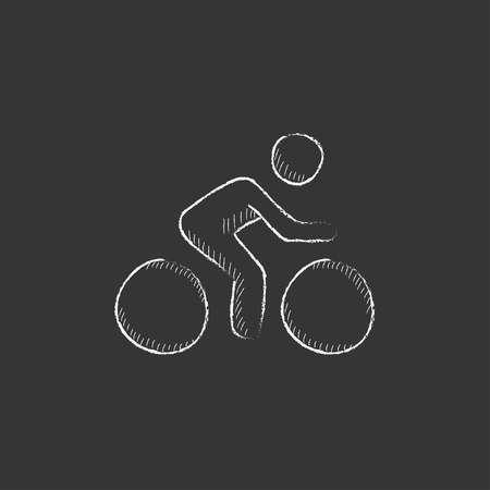 Man riding a bike. Hand drawn in chalk vector isolated icon for web, mobile and infographics.