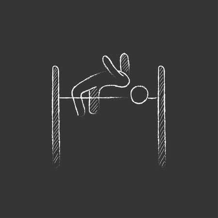 high jump: High jump. Hand drawn in chalk vector isolated icon for web, mobile and infographics.