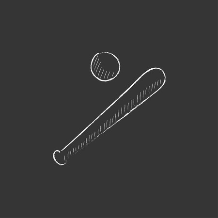 Baseball bat and ball. Hand drawn in chalk vector isolated icon for web, mobile and infographics.