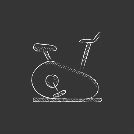 Exercise bike. Hand drawn in chalk vector isolated icon for web, mobile and infographics. Illustration