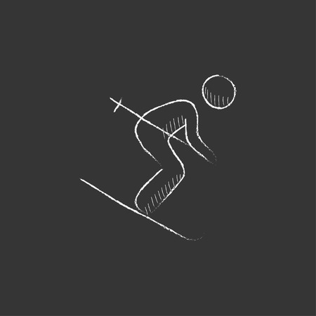 downhill skiing: Downhill skiing. Hand drawn in chalk vector isolated icon for web, mobile and infographics.