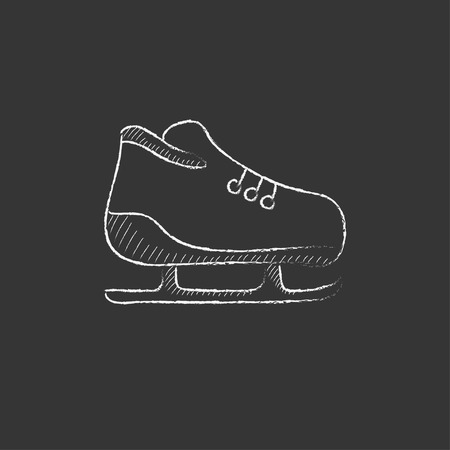 Skate. Hand drawn in chalk vector isolated icon for web, mobile and infographics.